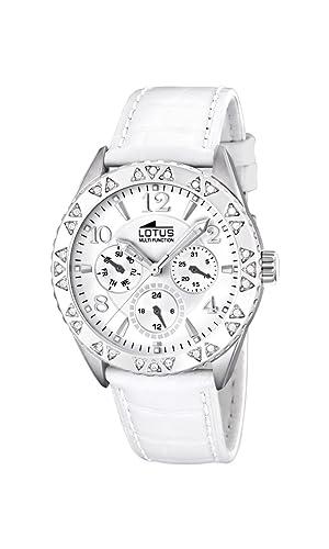 Lotus 15681/1 - Reloj de Mujer de Cuarzo, Correa de Piel Color Blanco: Lotus: Amazon.es: Relojes