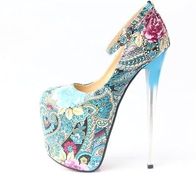 72ff9999d3c GZD Women Flowers Pumps Closed Toe Platform High Heel Buckle Satin Evening  Wedding Court Shoes