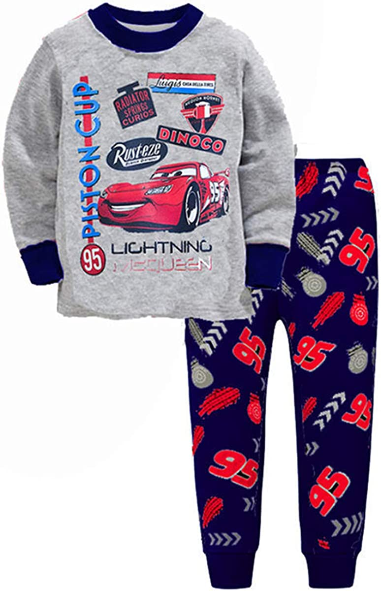 2T-7 Years Coo-kid Lightning McQueen Pajamas-Cars Long Sleeve Shirt Suits-Cartoon Sleepwears for Kids