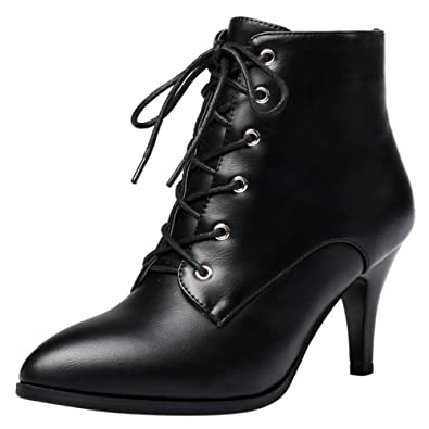21e6ea156b RAZAMAZA Women Side Zipper Dress Stiletto Kitten Heel Booties Lace up Ankle  Boots (33 AS