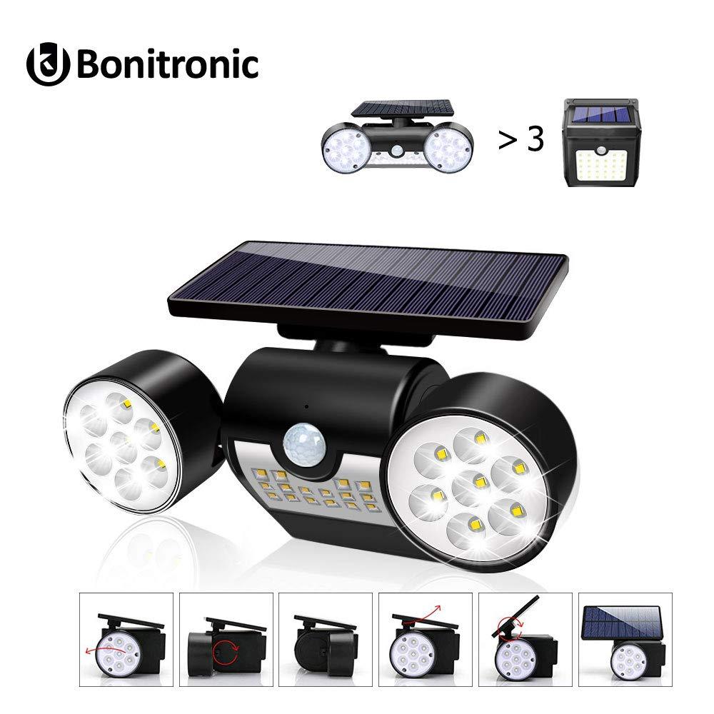Bonitronic Solar Lights Outdoor, Solar Motion Sensor Lights Outdoor 360-Degree Rotatable, 30 LED Solar Lights Waterproof IP65 for Garden Backyard Garage Patio