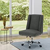 Christopher Knight Home 304854 Quentin Desk Chair, Dark Grey + Chrome