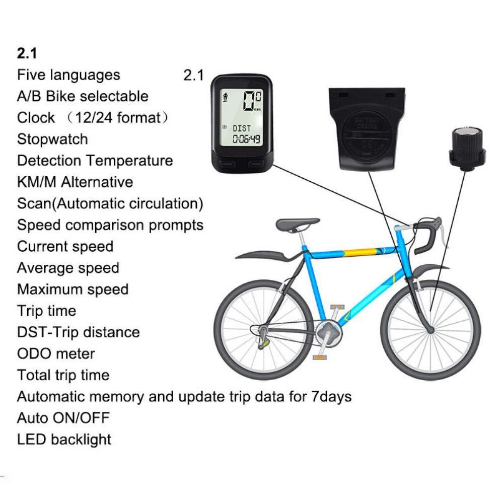 Inicio Bicicleta Inal/ámbrica Computadora Pantalla Grande Impermeable Noctilucente Mountain Road Veloc/ímetro Cron/ómetro con Luz de Fondo