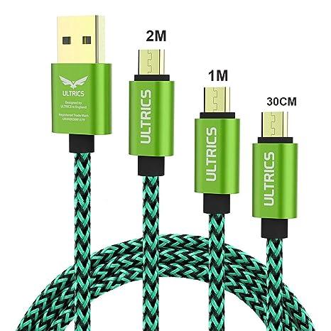 ULTRICS Cable Micro USB [3 Pack], Trenzado Nylon Carga Rápida y Datos Sincro, Android Cargador Cable Compatible con Samsung Galaxy, Sony LG, PS4 Xbox, ...