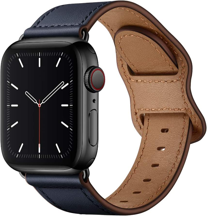KYISGOS Compatible with iWatch Band 44mm 42mm 40mm 38mm, Genuine Leather Replacement Band Strap Compatible with Apple Watch SE Series 6 5 4 3 2 1 (Dark Blue/Black, 44mm/42mm)