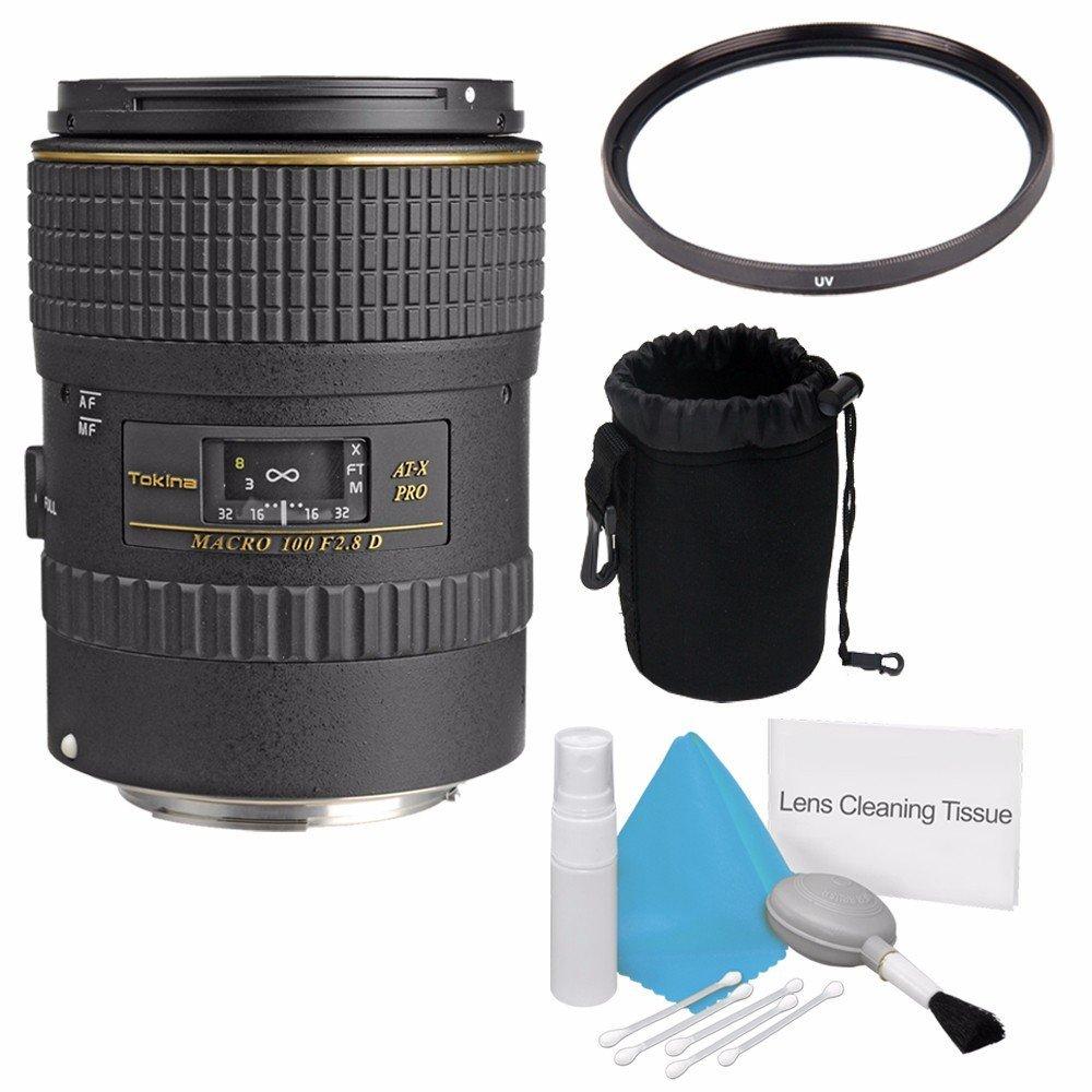 Tokina 100 mm f / 2.8 at - X m100 Pro DマクロAFオートフォーカスレンズfor Canon EOS (国際モデル)保証なし+デラックスクリーニングキット+ 55 mm UVフィルタ+デラックスレンズポーチバンドル5   B01G23V3PE