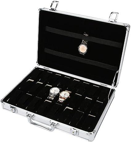 Caja para relojes, caja para relojes, 24 rejillas de aleación de ...