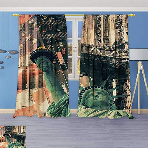 (Flower Design Foil Printed Grommet Thermal Insulated Window Panels New York City Street Scenery Liberty Statue and USA Flag Freedom Torch Illustration for Kidsroom)