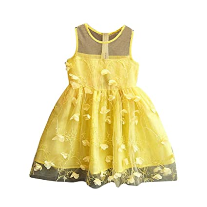 4afac5b0536 Coper Little Toddler Baby Girls Cute Lace Sleeveless Tulle Princess Tutu  Dresses (Yellow