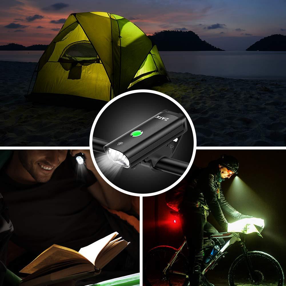 Desplazamientos Camping o Senderismo. Ciclos Nocturnos Luz Bicicleta Impermeable IPX-5 con 6 Modos para Carretera Faro Bicicleta Delantero y Trasero Recargable ZATK Luz Delantera Bicicleta LED