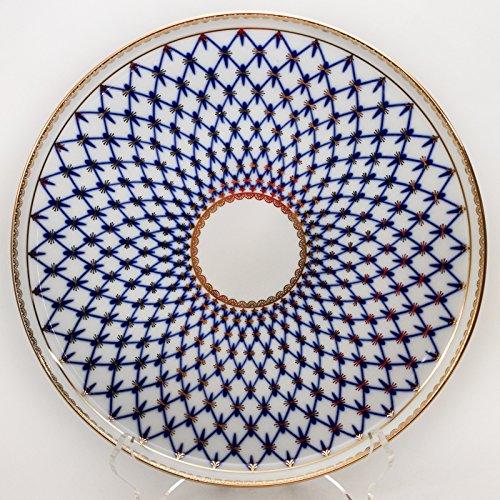 (Imperial / Lomonosov Porcelain Cake Platter Round 'Cobalt Net')