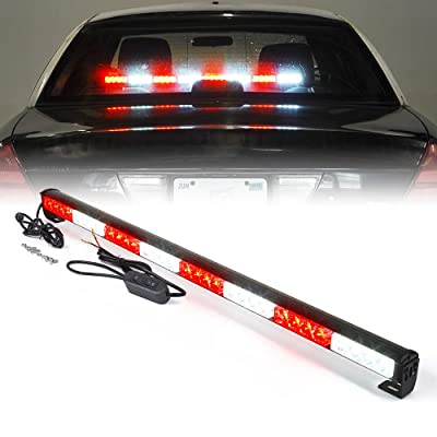 "Xprite 35.5"" White Mix Red 32 LED Traffic Advisor Advising Emergency Vehicle Strobe Top Roof Light Bar w/ 13 Warning Flashing Modes for Trucks Cars: Automotive"