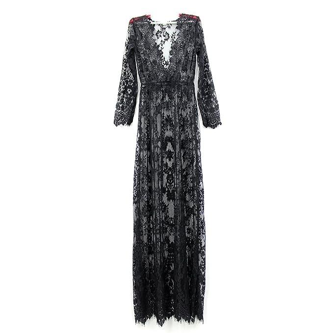 Amazon Wispun Women Sexy Deep V Long Sleeve Lace Maxi Dresses