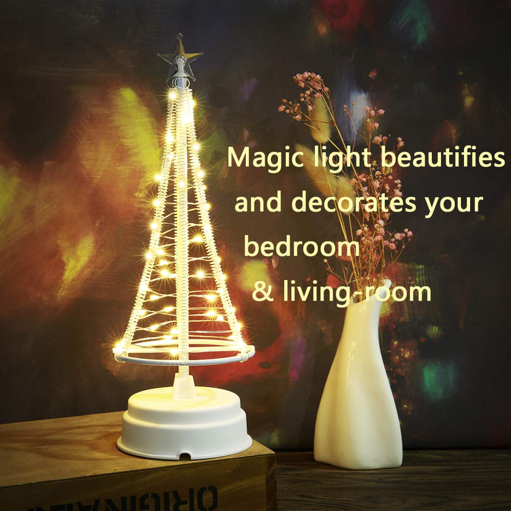 HONESTY Santa\'s Tree, Small Santa Tree,Decorative Lights, Holiday Party Gift, 40 Warm White LEDs on Copper Wire Charging Data Line,Table Lamp & Nice Decorations Your Rooms,10.2 inch Tall, Insi