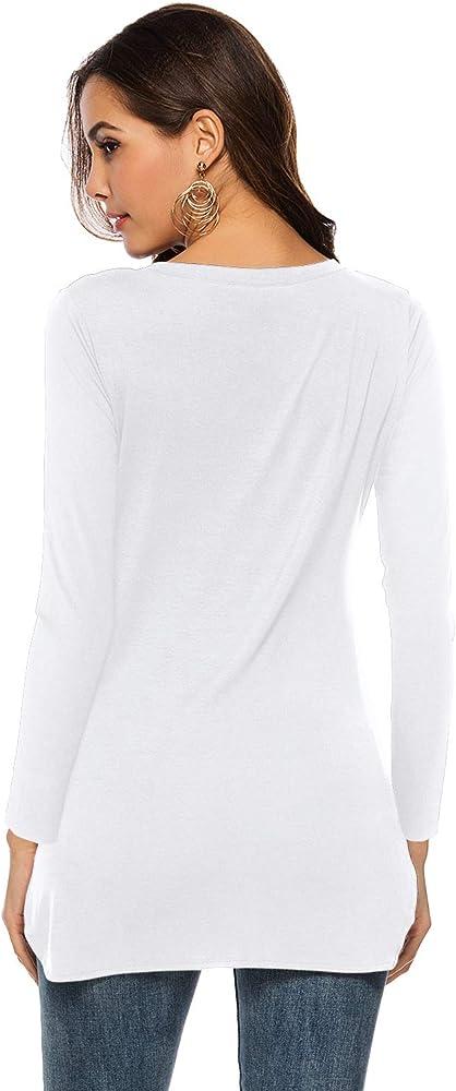 Florboom Damas de Mujer de algodón de Manga Corta Cuello Redondo Camisetas Tops Blusa Lateral Split Alto Bajo Dobladillo Blanco XL: Amazon.es: Ropa y accesorios