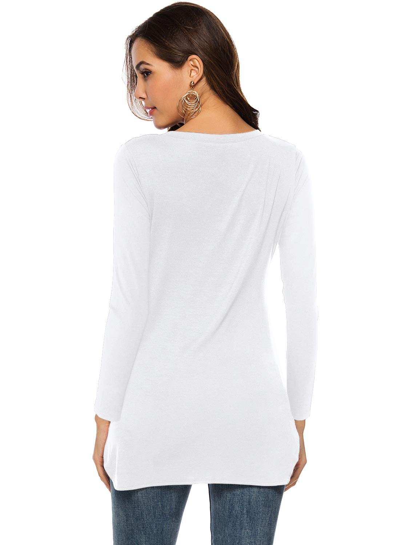 Florboom kvinnors bomullsöverdelar vardaglig scoop Neck t-shirt blus A-vit