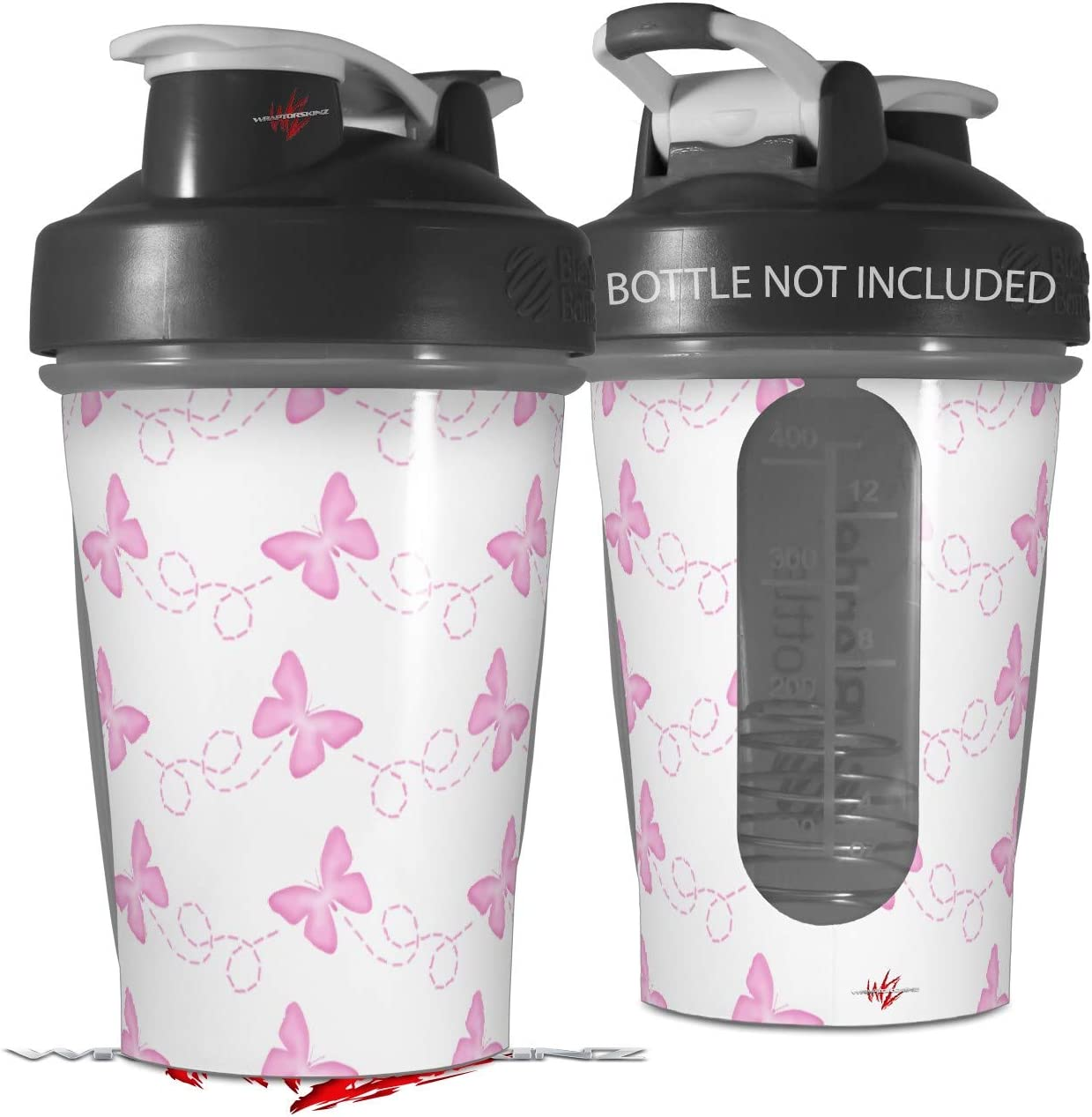 Decal Style Skin Wrap works with Blender Bottle 20oz Pastel Butterflies Pink on White (BOTTLE NOT INCLUDED)