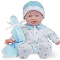 JC Toys Caucasian 11-inch Small Soft Body Baby Doll La Baby | Washable |Removable Blue Outfit w/ Cap & Blanket | for…