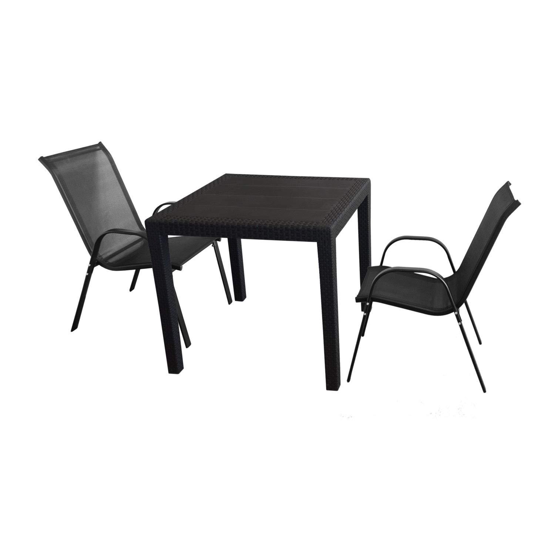 3tlg. Sitzgruppe Gartentisch 79x79cm Schwarz + 2 stapelbare Stühle mit Textilenbespannung Schwarz Terrasse Balkon Garten Garnitur