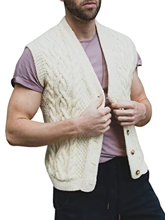 Hestenve Mens Cable Knit Sweaters Vest Sleeveless Button Down