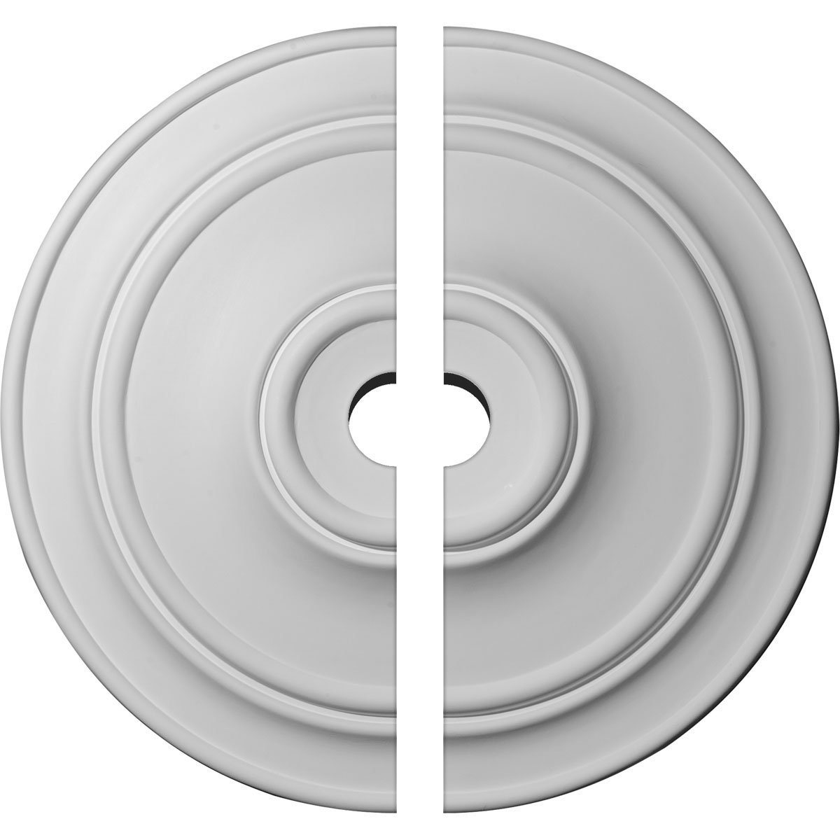 Ekena Millwork CM40CL2-05000 40 1/4''OD x 5''ID x 3 1/8''P Small Classic Ceiling Medallion, Fits Canopies up to 10'', 2 Piece