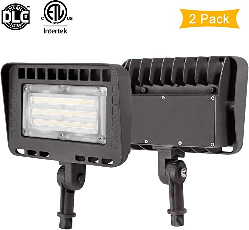 LIGHTDOT 2 Pack 70W LED Flood Light, 8400Lm 5000K Knuckle Mount, IP65 Waterproof Super Brigh LED Security Light for Outdoor Doorways Gardens Yards, Advertising Boards and Parking Lot Renewed