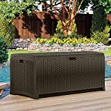Suncast DBW9935 Resin Rattan Deck Box, 122-Gallon
