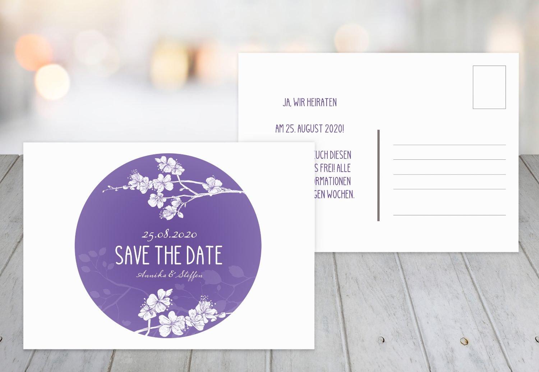 Save-the-Date Cherry Blossom, 80 Karten, Lilamatt B07B6P5F98 | Zarte  | Mode-Muster  | Große Klassifizierung