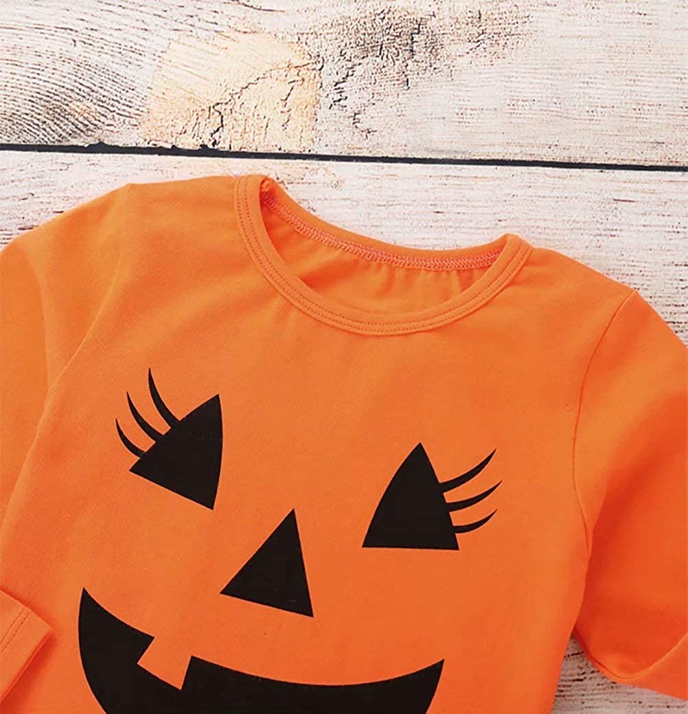 2Pcs Halloween Toddler Baby Girl Smile Pumpkin Tops+Tutu Tulle Skirt Outfits Long Sleeve Clothes