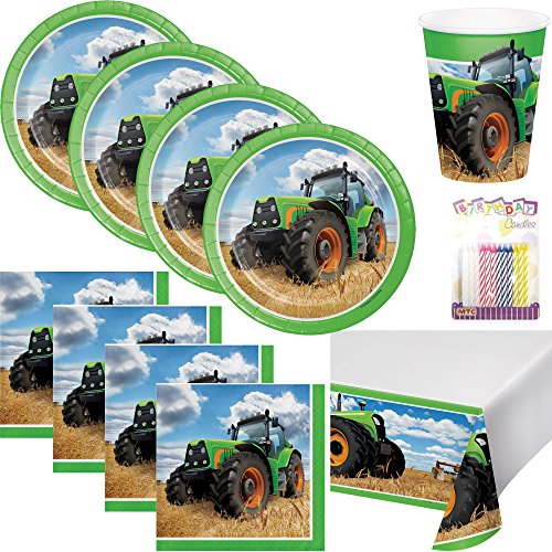 (Tractor Time Party Supplies Pack Serves 16: Dessert Plates, Beverage Napkins, Cups, Table Cover, and Birthday Candles)