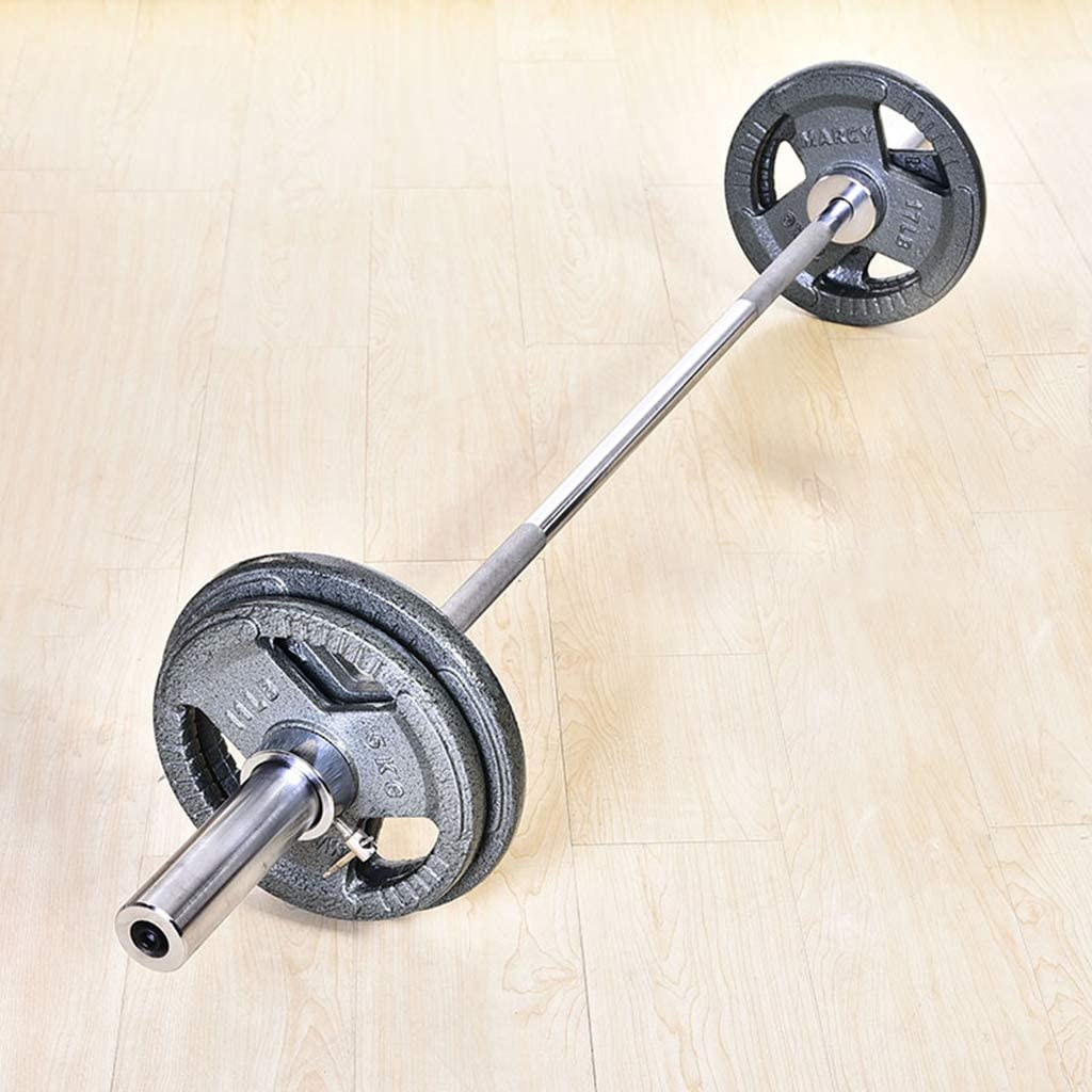 Olympic Barbell Bar 7 Feet Weight Bar with Two Spring Collars Solid Iron Weighted Workout Barbell Weight Straight Weightlifting Technique Bar for Home Fitness Exercise Equipment