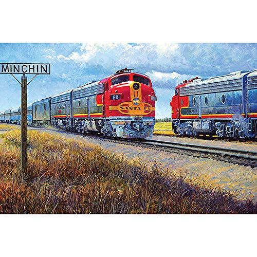 (5D DIY Diamond Painting Rhinestone Pictures of Crystals Embroidery Kits Arts, Crafts & Sewing Cross Stitch Trains Pattern Landscape 12x20 Inch)
