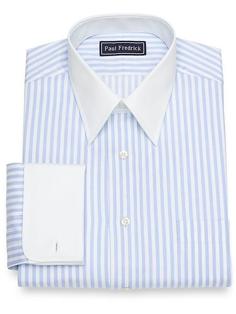 1920s Style Mens Shirts | Peaky Blinders Shirts and Collars Paul Fredrick Mens Cotton Satin Stripe French Cuff Dress Shirt $34.98 AT vintagedancer.com