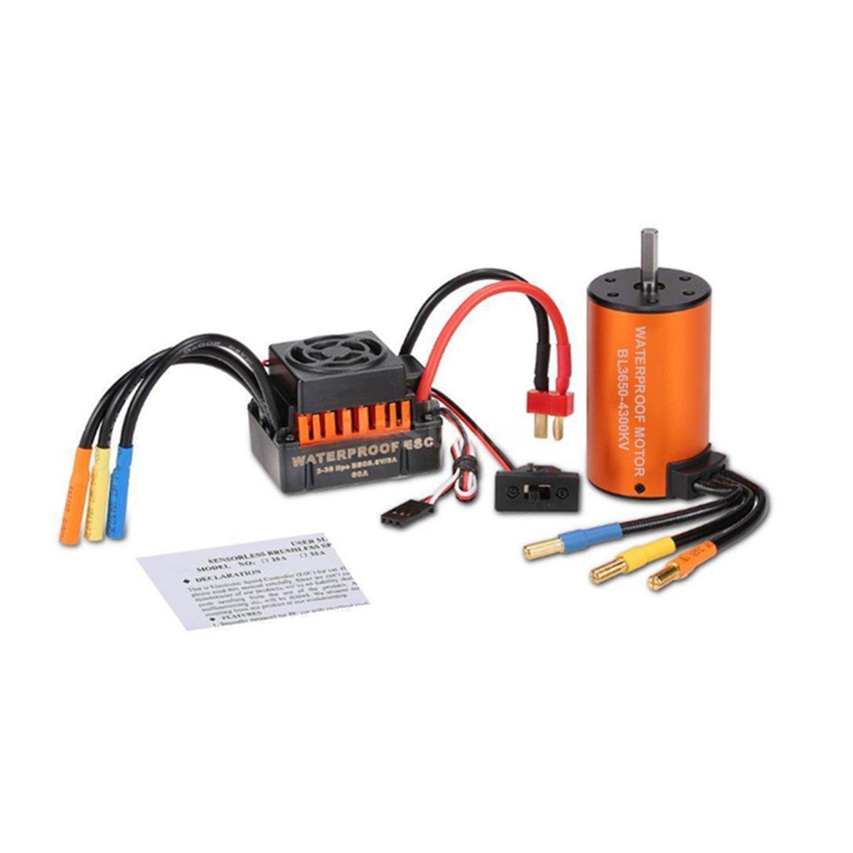UKCOCO Impermeable sin escobillas S3650 4300KV Motor sin escobillas Sensorless con 60A ESC Regulador de velocidad combinado para 1/10 RC Coche