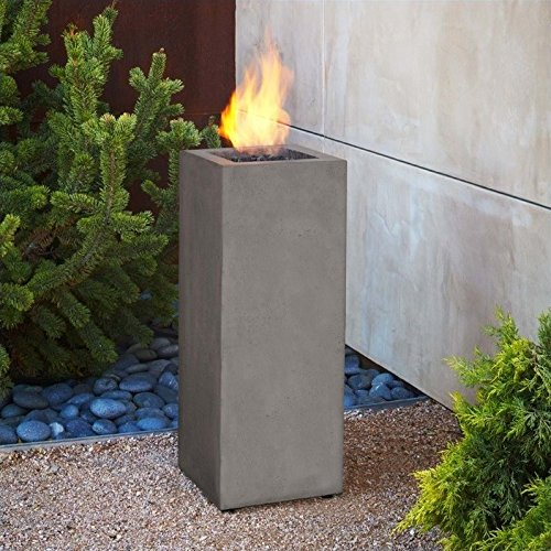 Real Flame T9605LP-GLG Baltic Propane Fire Column, Glacier (Concrete Column)