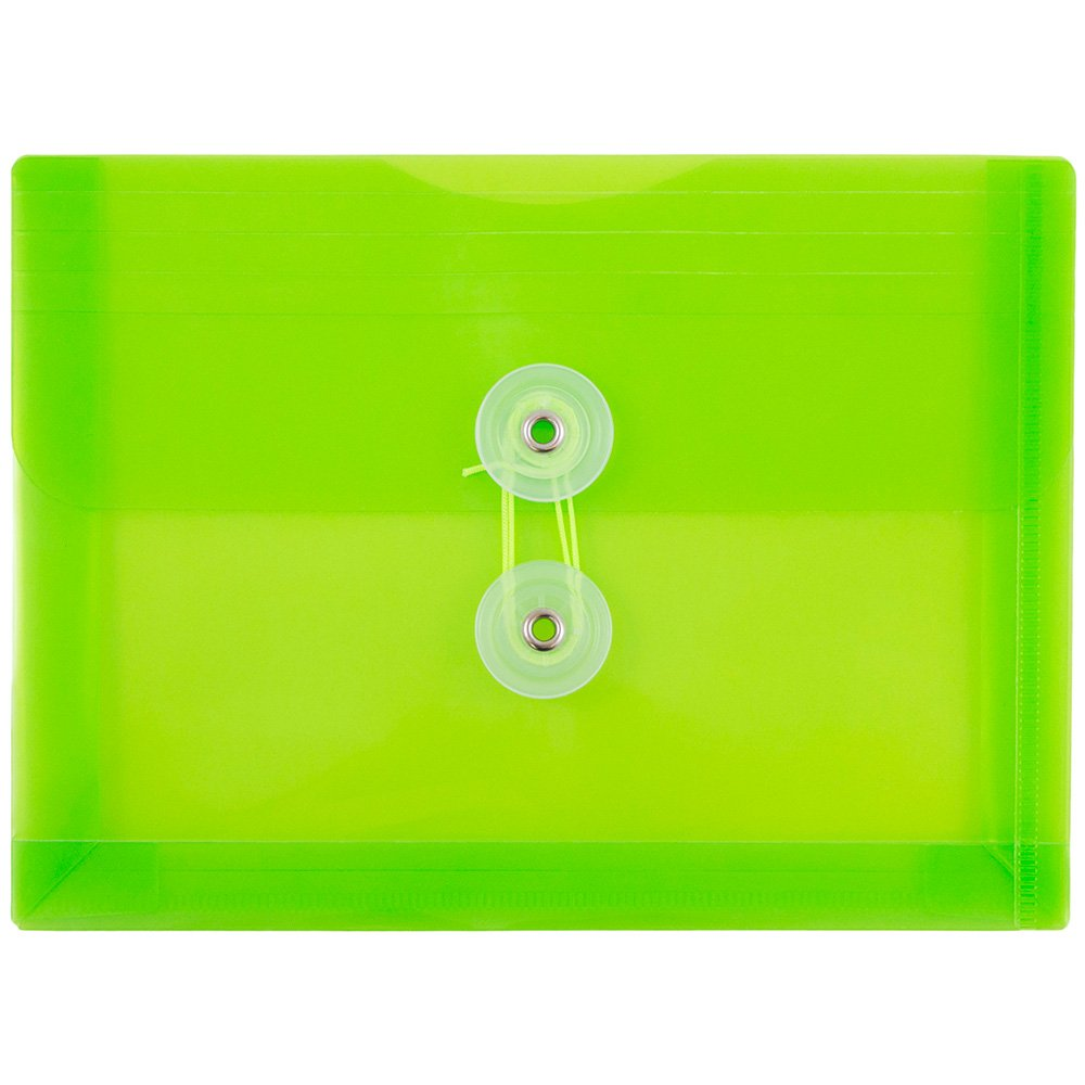 JAM PAPER Plastic Envelopes with Button & String Tie Closure - Index Size - 5 1/2 x 7 1/2 - Lime Green - 12/Pack