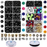 Bracelet Making Kit for Adults Beads - 800Pcs 8mm Color Volcanic Gemstone Lava Rock Beads Bulk Chakra Beads and Spacer Beads with Crystal String for Yoga Diffuser Bracelets DIY Jewelry Making Supplies