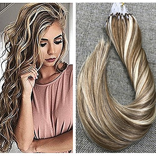 """Ugeat 14"""" 1g/s 50strands Micro Loop Hair Extensions Dip Dyed Dirty Blonde to Bleach Blonde Micro Rings Loop Human Hair Extensions Straight Micro Ring Hair Extensions"""