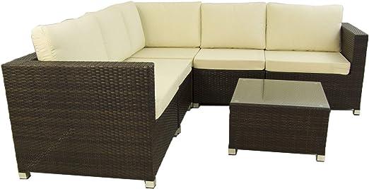 Conjunto sofás de jardín Caruno 7 - Hevea, Sofá rinconera 5 plazas + mesita Auxiliar, Estructura de Acero y rattán sintético, Color Marrón: Amazon.es: Jardín