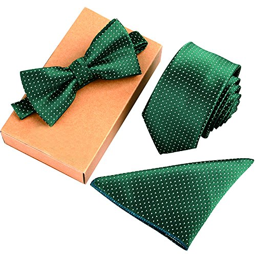 - Ainow Mens Fashion Polyster Skinny Neck ties and Bowtie Pocket Square 3pcs Set (Set19 Green White Dots)