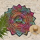 yoga towels tie dye - Madhu International Tie Dye Cotton White Black Mandala Round, Beach Throw, Yoga Mat, Table Cover, Picnic Mat, Roundies