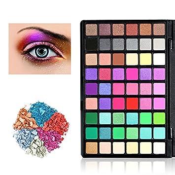 Paleta de Colores para Ojos, KRABICE 54 Sombras de Ojos mate ahumado pigmento Glitter Shimmer Maquillaje Paleta de sombra de ojos cosmética de alta ...