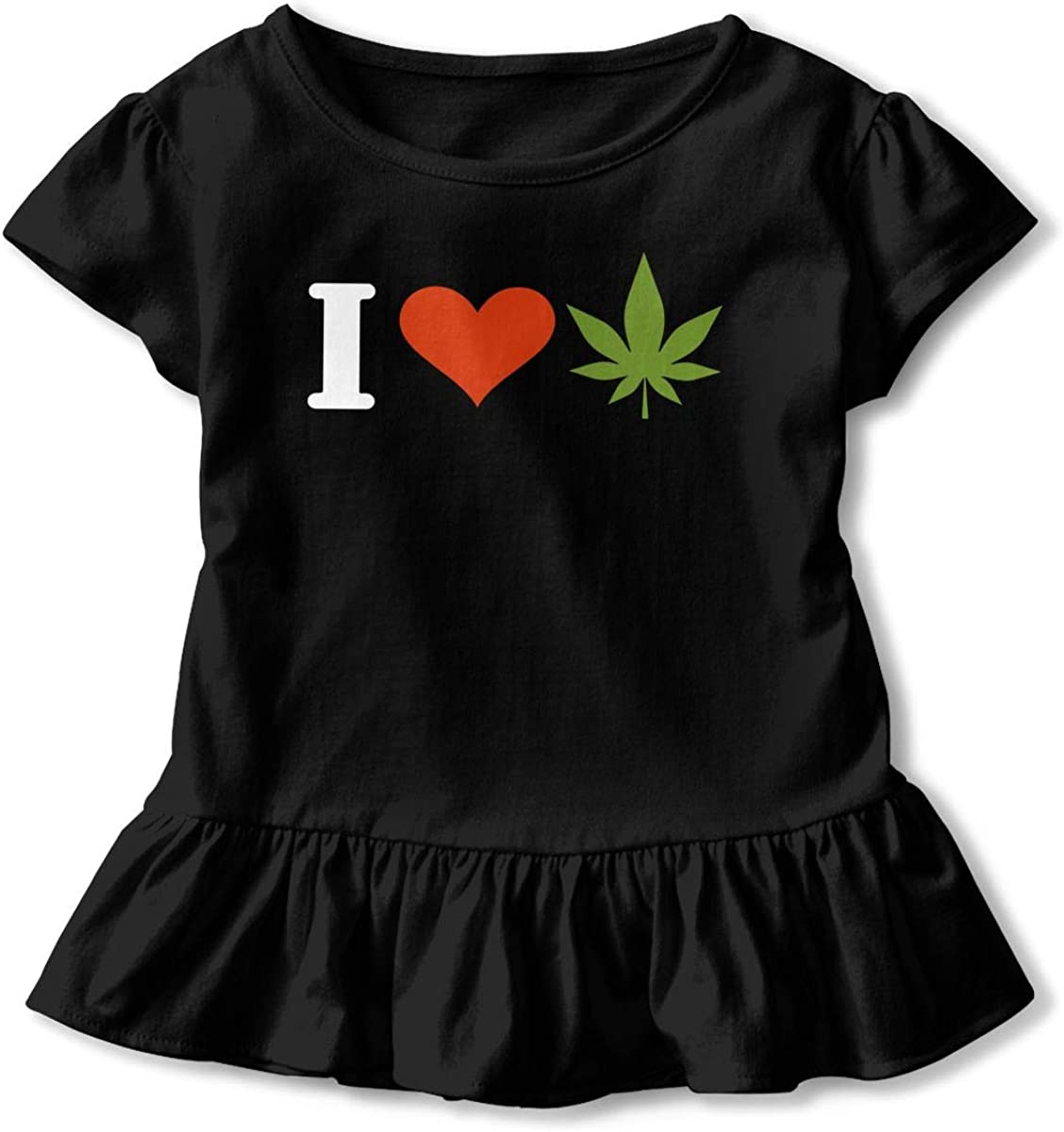 Cute Tunic Tops with Falbala Short Sleeve I Love Weed T-Shirts for Kids 2-6T