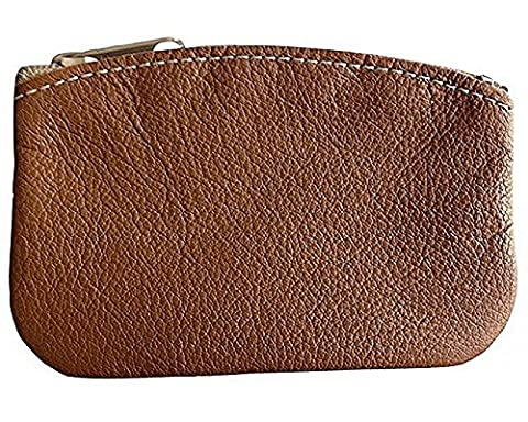 Classic Men's Large Coin Pouch Genuine Leather, Zippered Change Purse By Nabob (Tan)