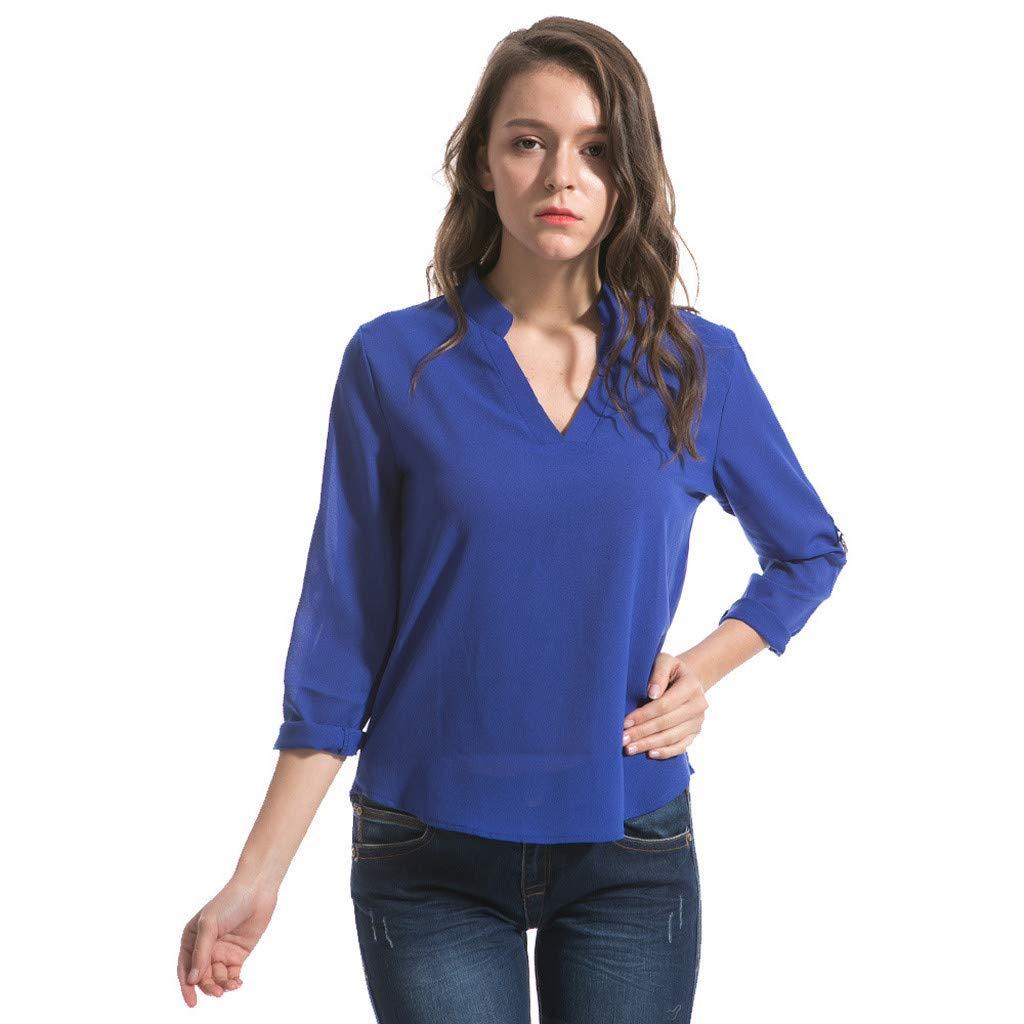 Keliay Cute Womens Tops Summer,Women Fashion S-6XL Long Sleeve Chiffon Shirt Tops V-Neck Casual Blouse Blue by Keliay (Image #2)