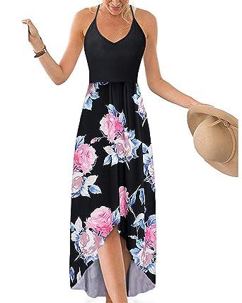 ca25877b05 Hount Women's Summer V Neck Maxi Dresses Floral Print Asymmetrical Beach  Sundresses (Black, Small