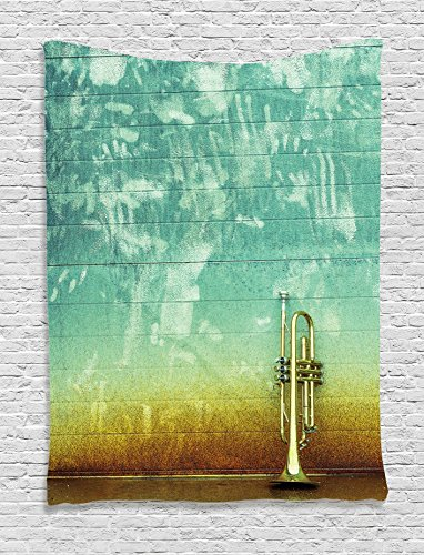 Music Decor Tapestry by Ambesonne, Old Aged Worn Single Trumpet Stands Alone Against A Faded Wall Jazz Music Theme Photo, Bedroom Living Room Dorm Decor, 40 W x 60 L Inches, Sea Green Brown