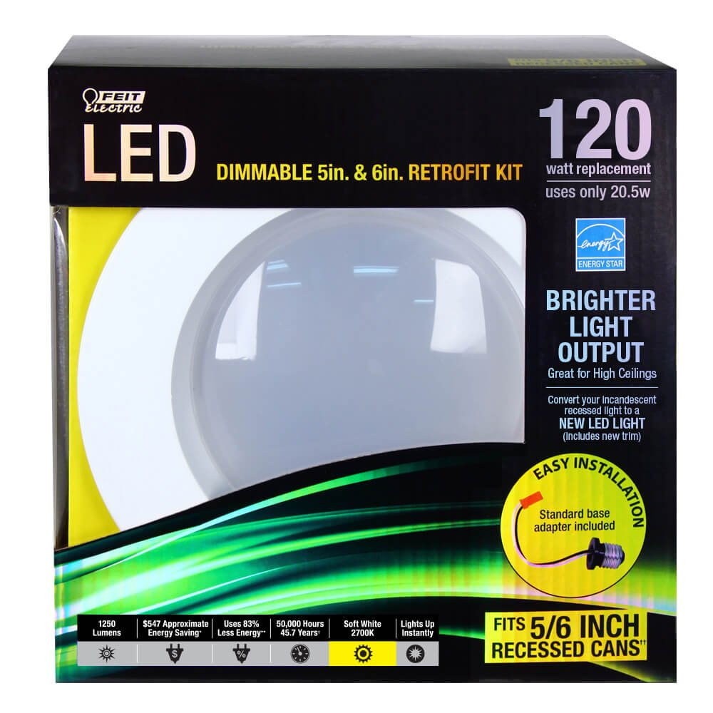Feit LEDR56//827 Led Retrofit Kit 5//6-Inch 120 Watt Equivalent 2 Pack