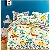 Cliab Dinosaur Bedding Full Size for Kids Boys Beige Orange 100% Cotton 7 Pieces