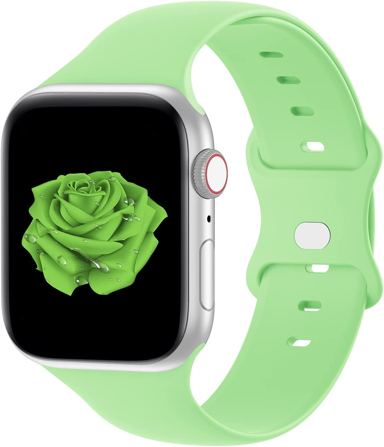 Bandiction Compatible with Apple Watch Series 3 38mm Series 5 40mm iWatch Bands 42mm 44mm, Soft Silicone Sport Replacement Strap Compatible for iWatch Series 6 SE 5 4 3 2 1, Vivid Green, 42/44mm